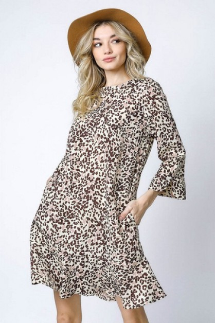 ANIMAL PRINT RUFFLE HEM SHIFT DRESS - orangeshine.com