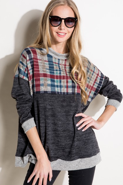 PLAID COLOR BLOCK MOCK NK BOXY TOP - orangeshine.com