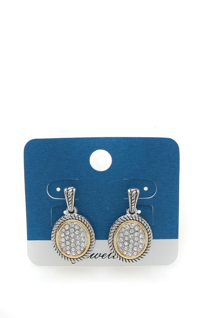 PAVE STONE DANGLE  EARRINGS - orangeshine.com