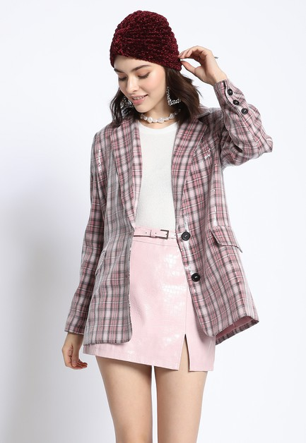 SEQUIN PLAID BLAZER - orangeshine.com