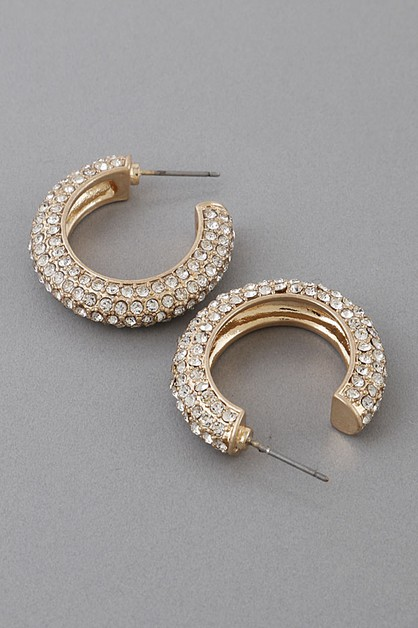 Bulk Rhinestone Hoop Earrings - orangeshine.com