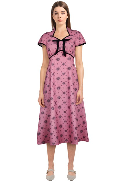 Plus Size Pink/Floral Tie Retro Dress - orangeshine.com