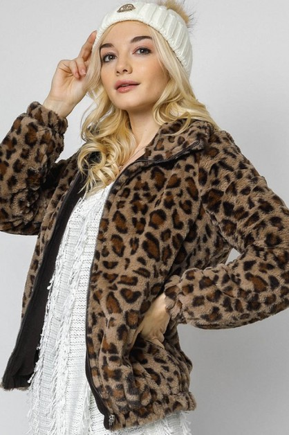 ANIMAL PRINT SOFT JACKET WITH ZIPPER - orangeshine.com