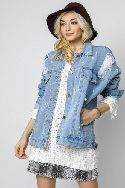 BEJEWELED DISTRESSED OVERSIZED DENIM - orangeshine.com