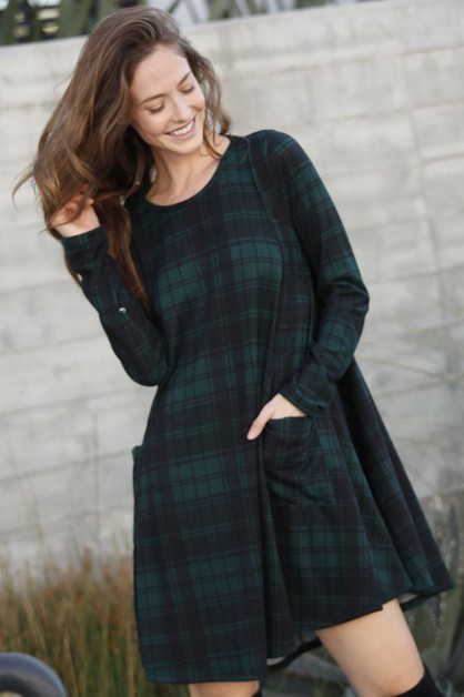 Checkered Long Sleeve Tunic  - orangeshine.com