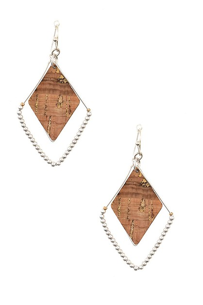 DIAMOND BEADED CORK DETAIL EARRING - orangeshine.com