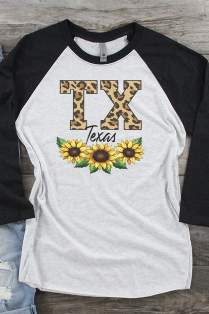 ANY State Leopard Sunflower Raglan - orangeshine.com