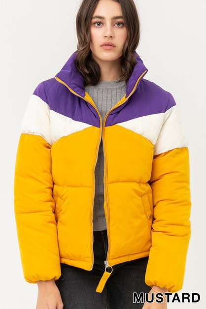Color Block Padding Jacket - orangeshine.com