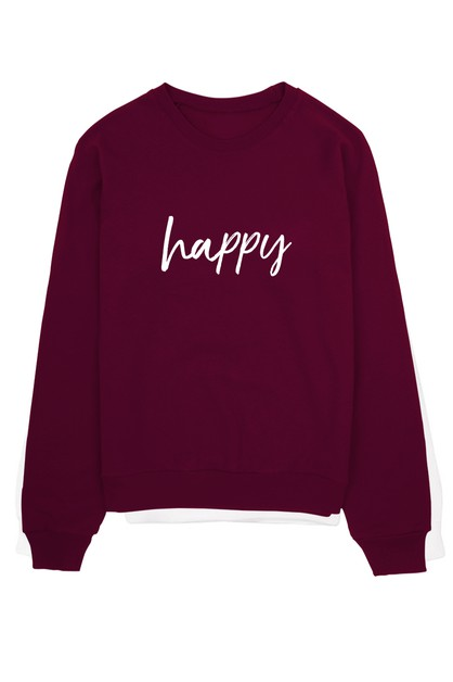 HAPPY PRINTED CREW NECK SWEATER - orangeshine.com
