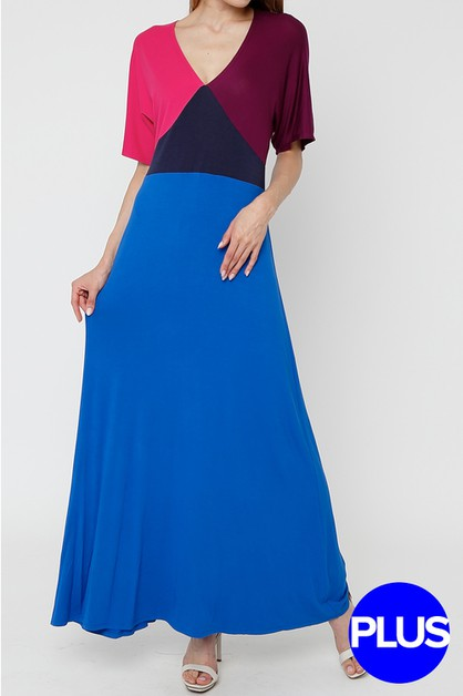 Color Block Short Sleeve Maxi Dress - orangeshine.com