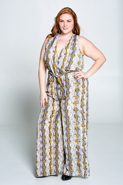Plus - Sleeveless Snake Jumpsuit - orangeshine.com