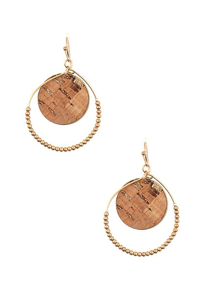 ROUND BEADED CORK DETAIL EARRING - orangeshine.com
