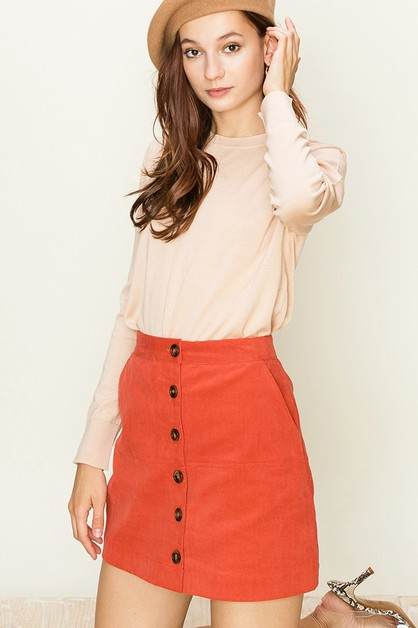 BUTTON DOWN CORDUROY MINI SKIRT - orangeshine.com