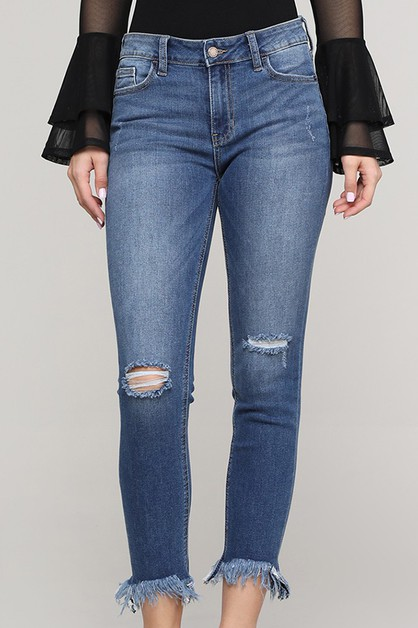 skinny jeans with long Frayed hem - orangeshine.com