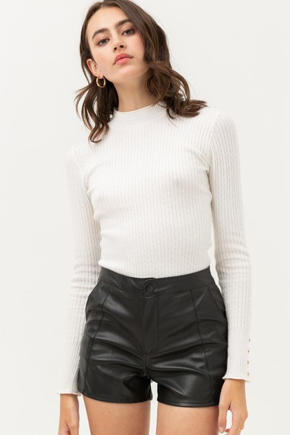Zip Up Faux Leather Shorts with Pock - orangeshine.com