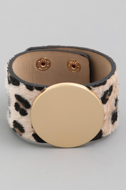 Faux Fur Animal Print Bracelet - orangeshine.com