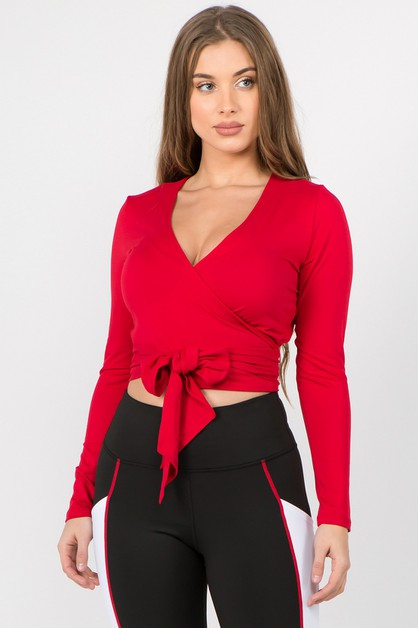Plunge Neck Wrap Tie Crop Top - orangeshine.com