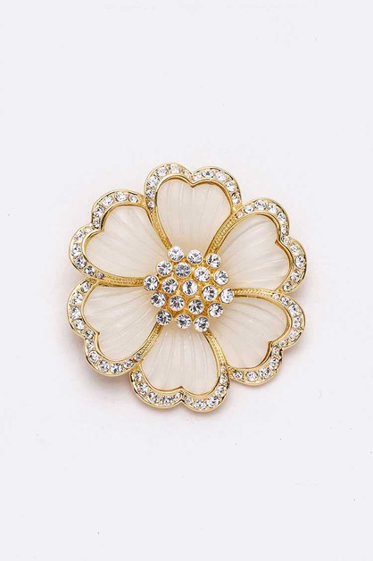 Crystal Iconic Flower Brooch Pin - orangeshine.com