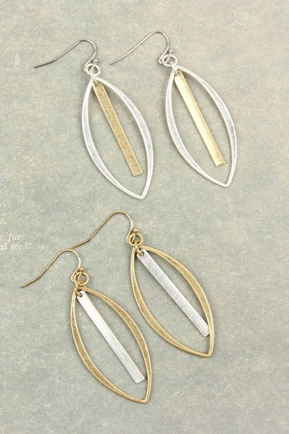 OPEN MARQUISE WITH BAR DROP EARRINGS - orangeshine.com