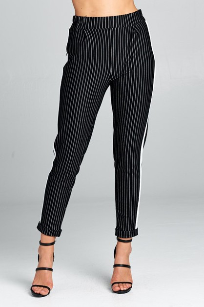 Pinstriped Jogger Pants - orangeshine.com