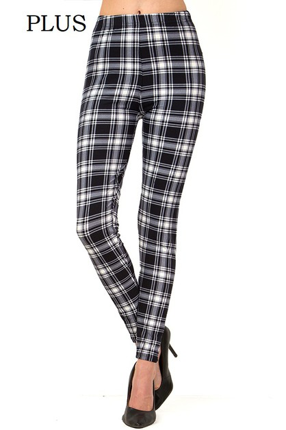 PLAID PRINT PLUS LEGGINGS - orangeshine.com