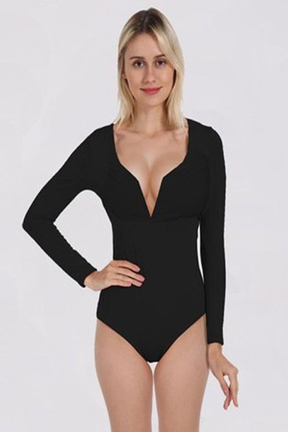 Deep V-Neck Slim Fitting Bodysuit - orangeshine.com