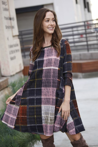 Plaid A-Line Dress With Pockets - orangeshine.com