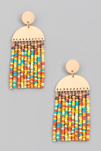 Seed Beaded Tassel Drop Earrings - orangeshine.com