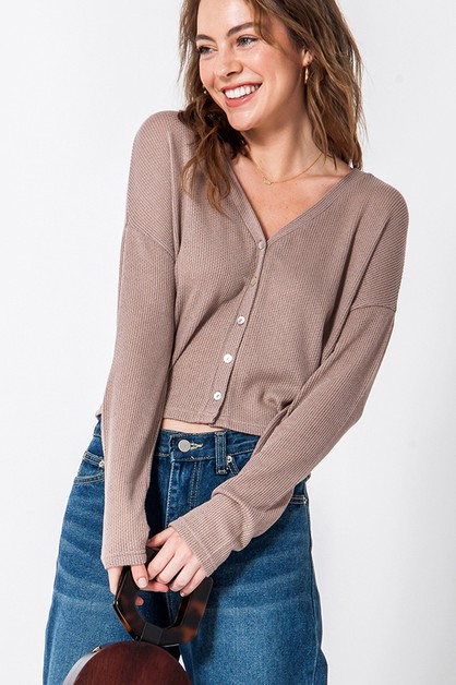 BUTTON FRONT LONG SLEEVE CROPPED - orangeshine.com
