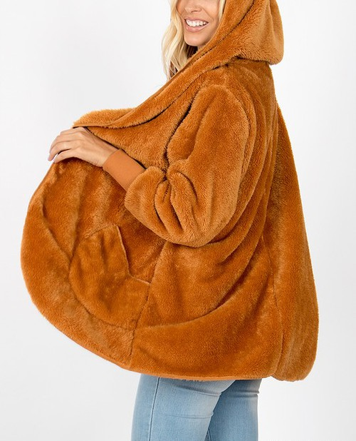 HOODED FAUX FUR COCOON JACKET - orangeshine.com