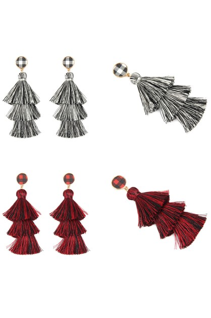 3 LAYER TASSEL CHECKERED EARRINGS - orangeshine.com