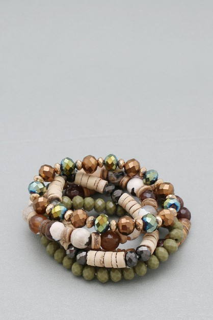 WOOD MULTI LINE STRETCH BRACELET - orangeshine.com