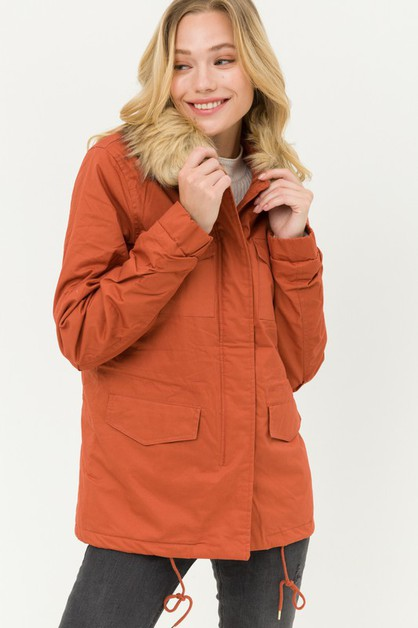 Faux Fur Collar Utility Jacket - orangeshine.com