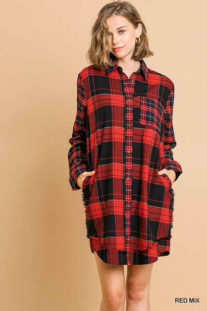 Mixed Plaid Print Shirt Dress  - orangeshine.com
