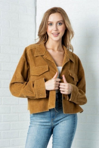 SEMI CROPPED BUTTON DOWN JACKET - orangeshine.com
