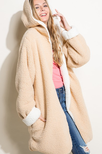 FAUX FUR SHERPA REVERSIBLE COAT - orangeshine.com