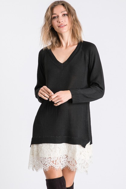 V NECK SWEATER DRESS WITH LACE HEM D - orangeshine.com