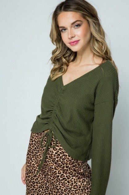 WAFFLE KNIT RUCHED FRONT TOP - orangeshine.com