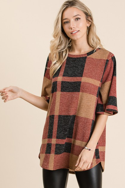SEMI BELL SLEEVE PLAID TUNIC - orangeshine.com