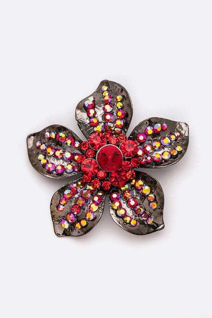 Crystal Flower Iconic Brooch Pin - orangeshine.com