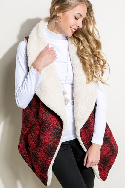 PLAID PATTERN SHERPA FUR LINED VEST - orangeshine.com