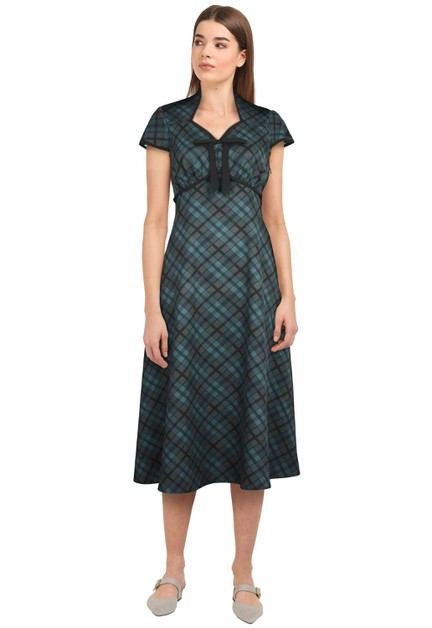 Plus Size Green/Plaid Tie Retro Dress - orangeshine.com