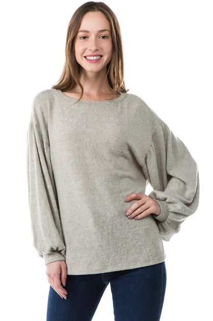 COZY OVERSIZE BALLOON SLEEVE TOP - orangeshine.com