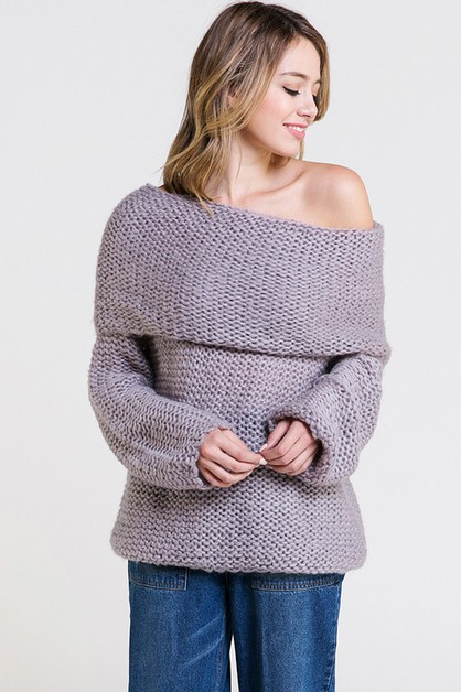 OVERSIZED OFF THE SHOULDER SWEATER - orangeshine.com