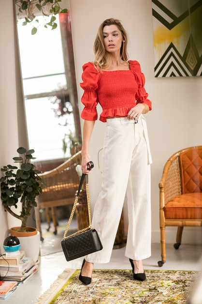 Belted high waist pants - orangeshine.com