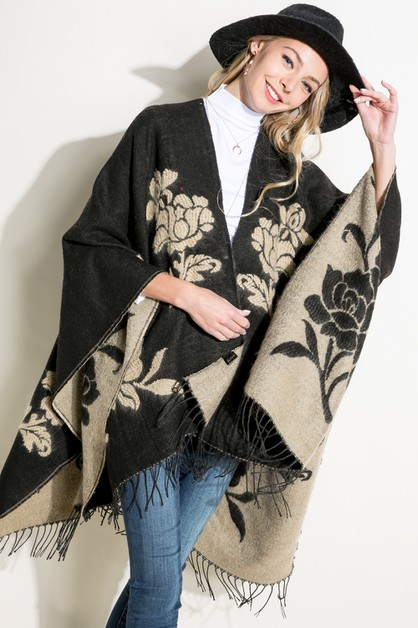 FLOWER SOFT FRINGE CAPE PONCHO SHAWL - orangeshine.com