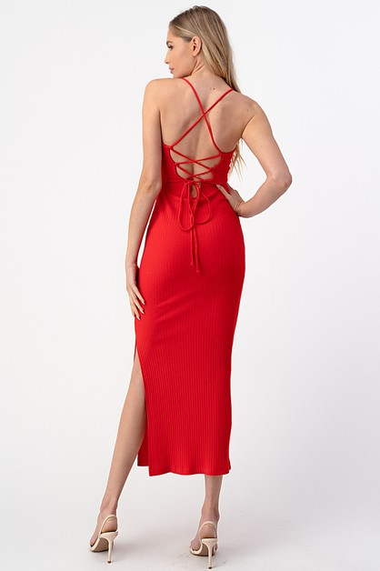 LACE UP MAXI TANK DRESS WITH SIDE SL - orangeshine.com