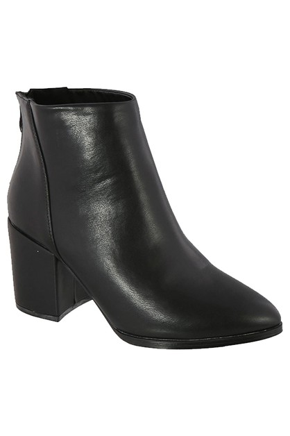 PU HEEL BACK ZIPPER ANKLE BOOTIE - orangeshine.com