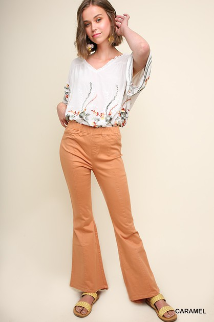 High Waist Stretch Flare Bottom Pant - orangeshine.com