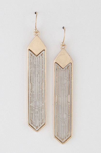 Oriental Patterned Drop Earrings - orangeshine.com